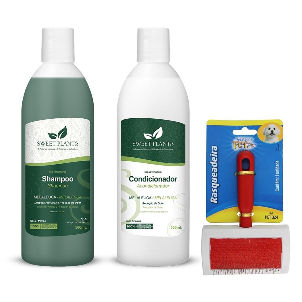 Kit para Cachorro - Shampoo e Condicionador Melaleuca Sweet Friend + Rasqueadeira