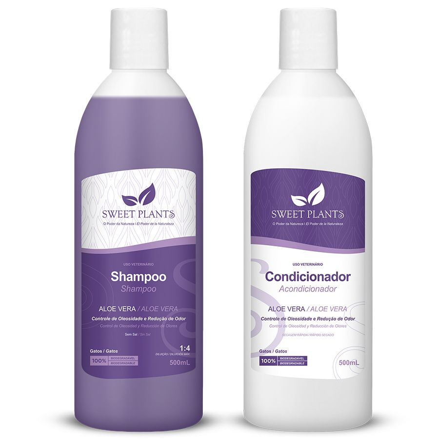 Kit Shampoo e Condicionador - Aloe Vera - Gatos - Sweet Friend