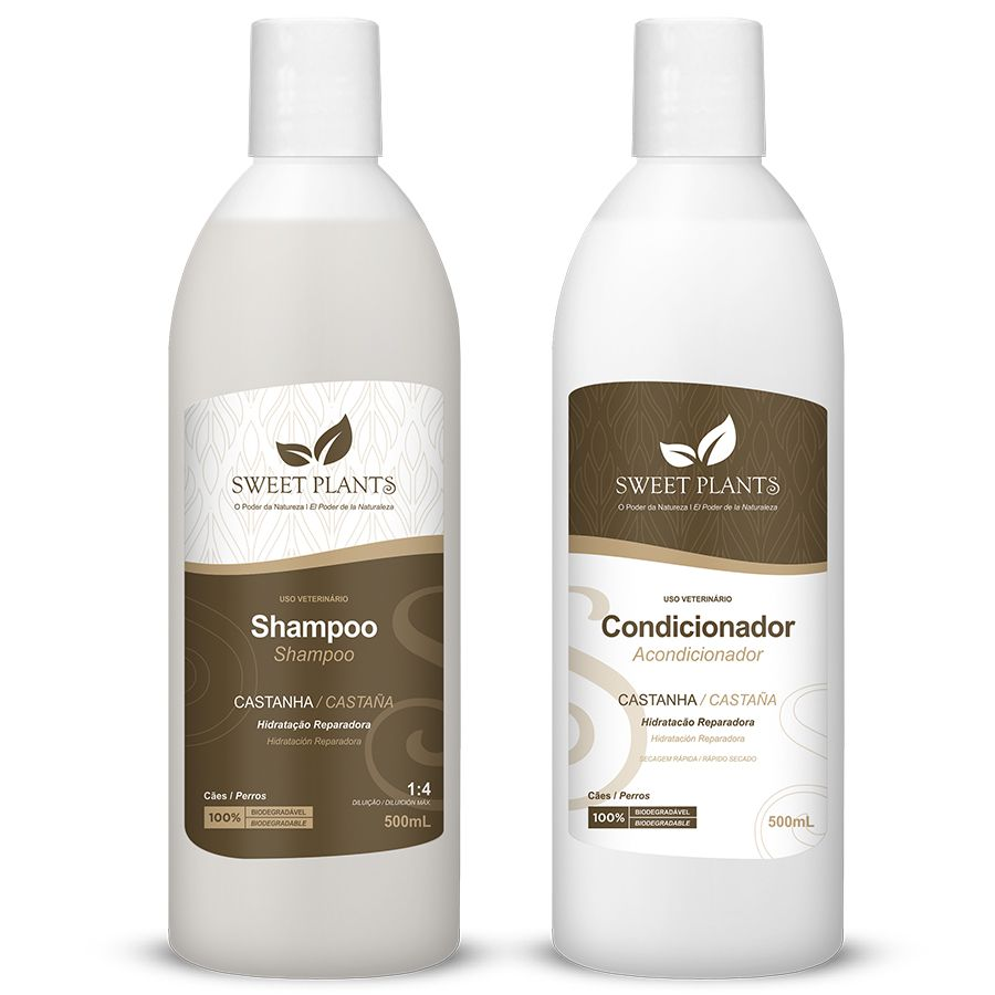 Kit Shampoo e Condicionador Castanha - Sweet Plants - Sweet Friend 500mL