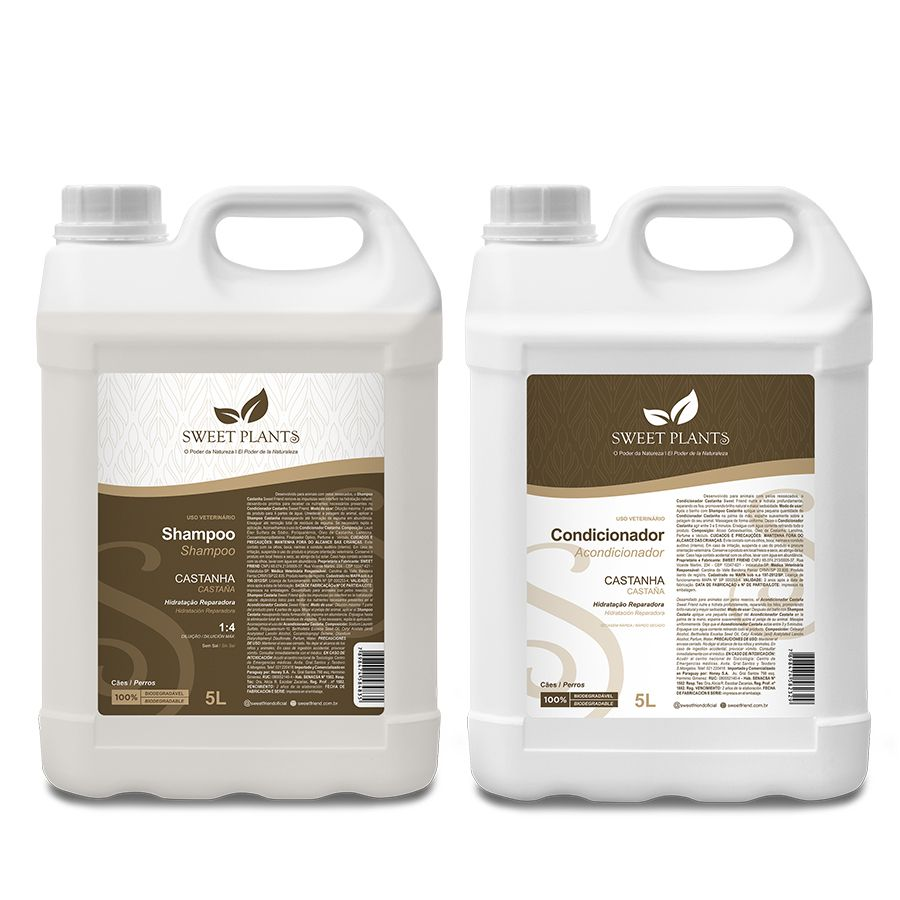Kit Shampoo e Condicionador Castanha - Sweet Plants - Sweet Friend 5L