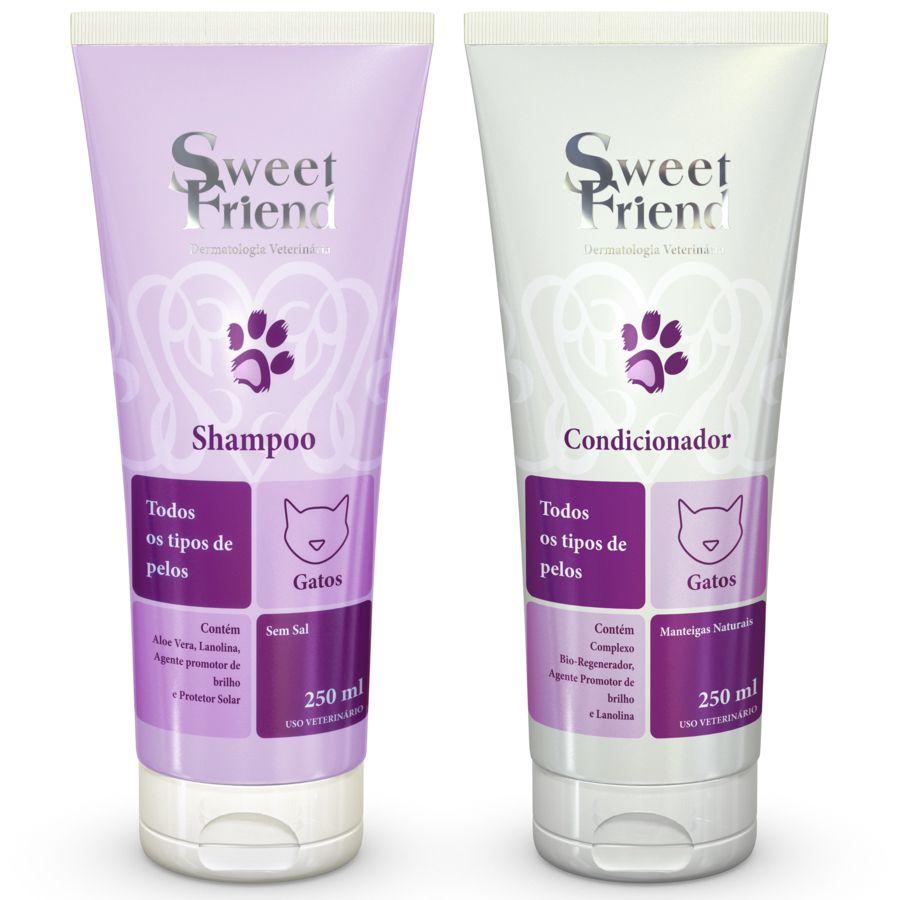 Kit Shampoo e Condicionador - Todos os tipos de pelos - Gatos - Sweet Friend