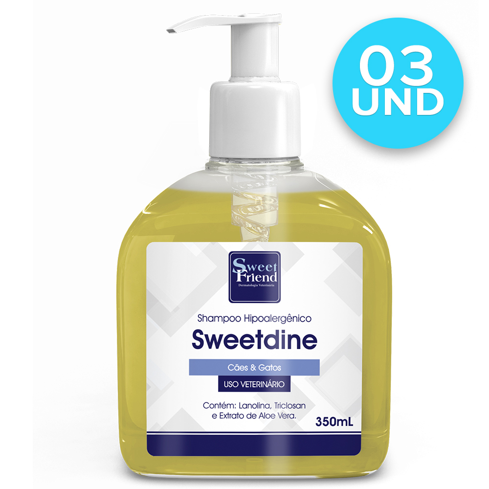 Kit Shampoo Sweetdine - Hipoalergênico para Cães - Sweet Friend (3und)