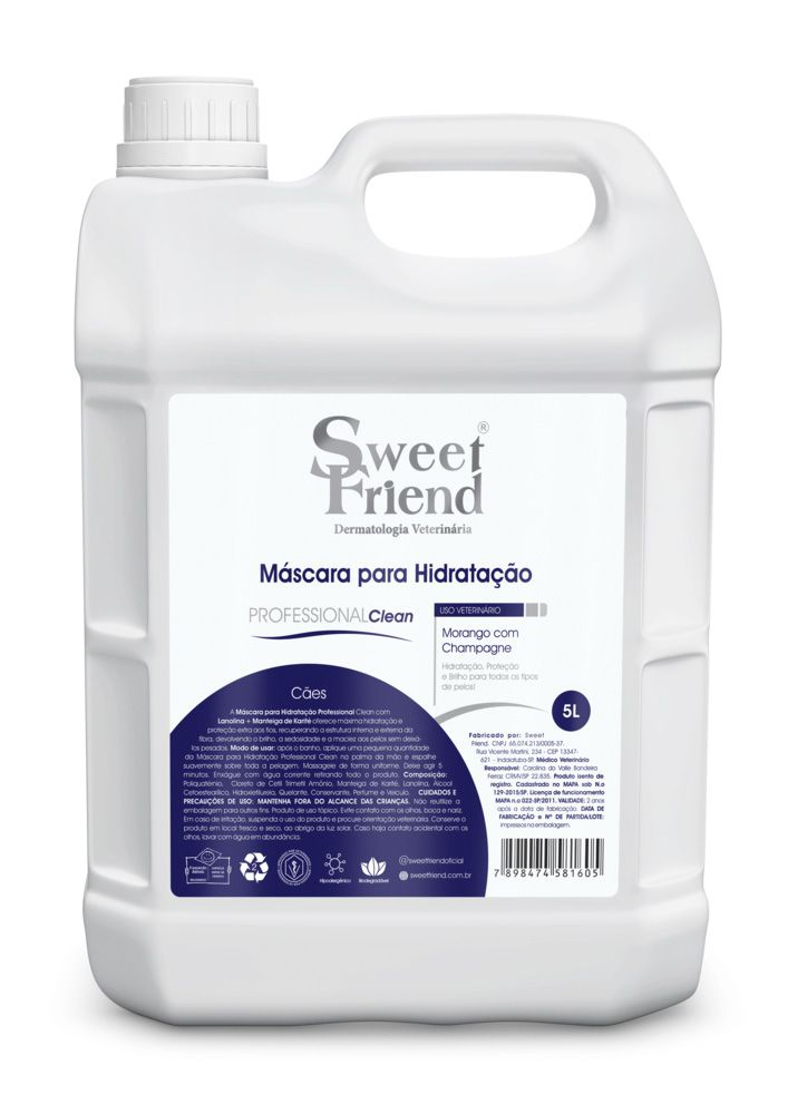 Máscara para Hidratação Professional Clean Morango com Champagne Sweet Friend - 5L