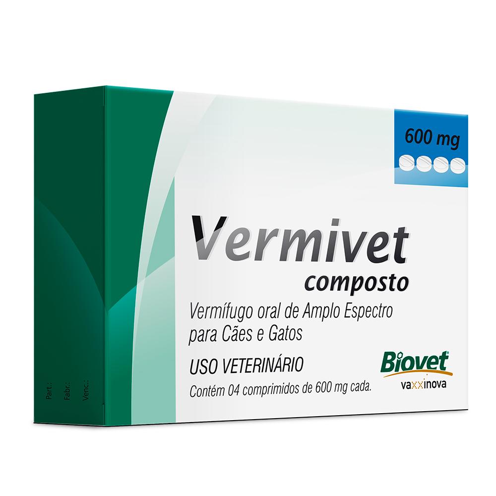 Vermivet Composto 600mg - Vermifugo Cães e Gatos
