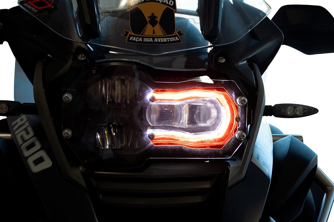 Protetor de Farol com Lente Vermelha em Aço + Acrilico para moto BMW R 1200 / 1250 GS.