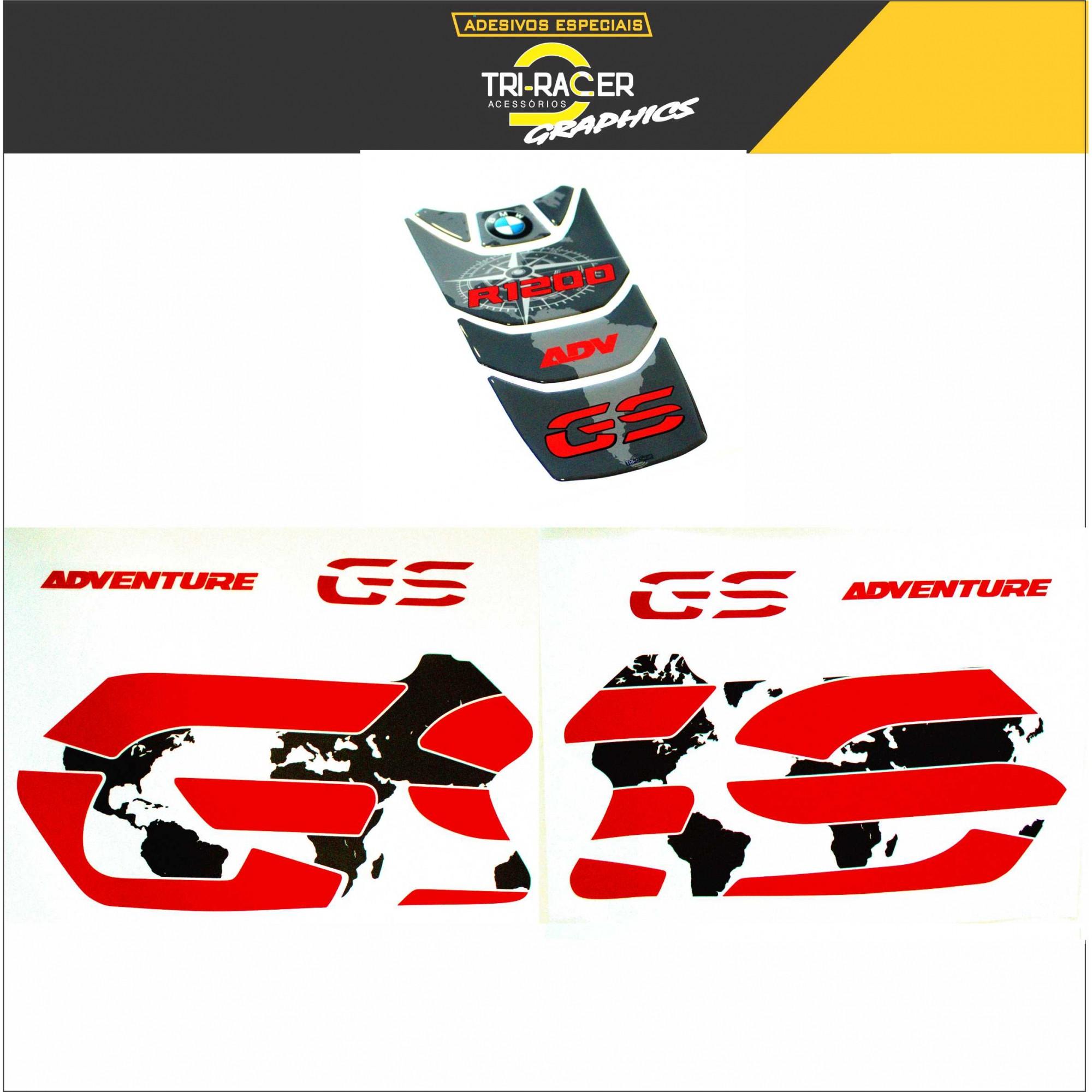 KIT Adesivos Protetor Tanque BMW R1200 Gs Adventure - VERMELHO