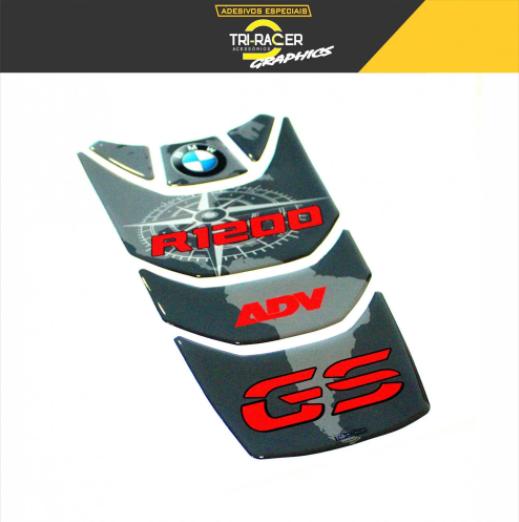 KIT Adesivos Protetor Tanque BMW R1200 GS Adventure - Rosa dos Ventos - Vermelho