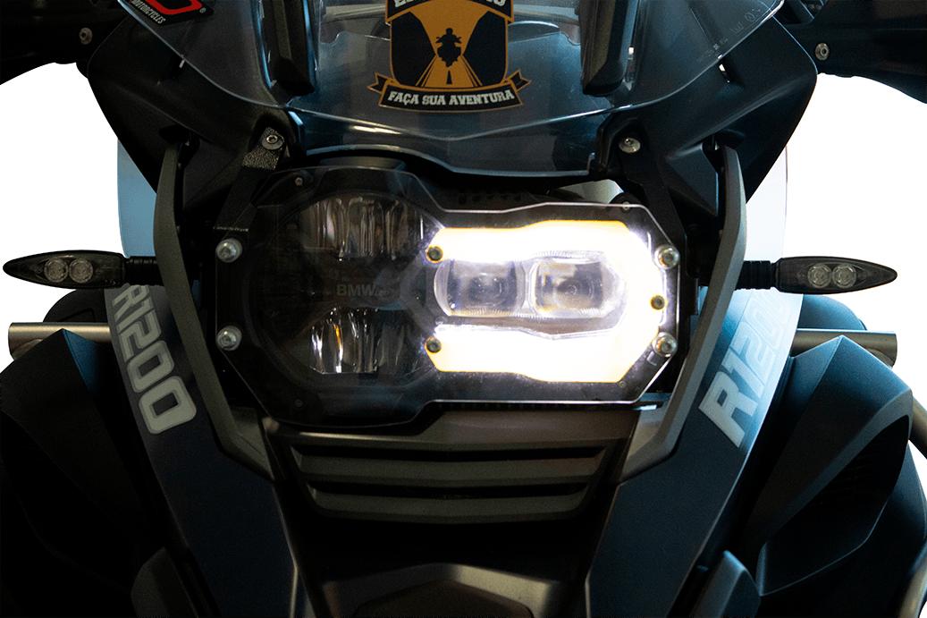 Protetor de Farol com Lente Laranja em Aço + Acrilico para moto BMW R 1200 / 1250 GS.