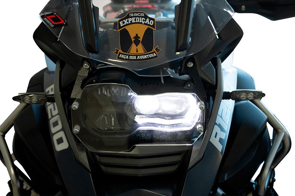Protetor de Farol em Aço + Acrilico para moto BMW R 1200 / 1250 GS.