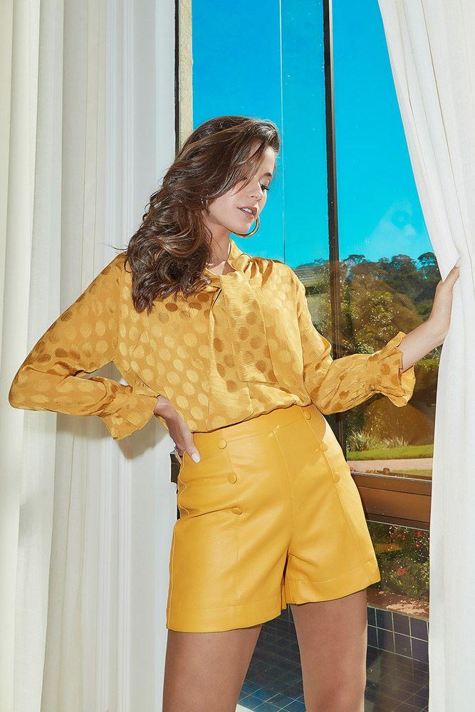 Blusa Amarração No Decote Amarelo