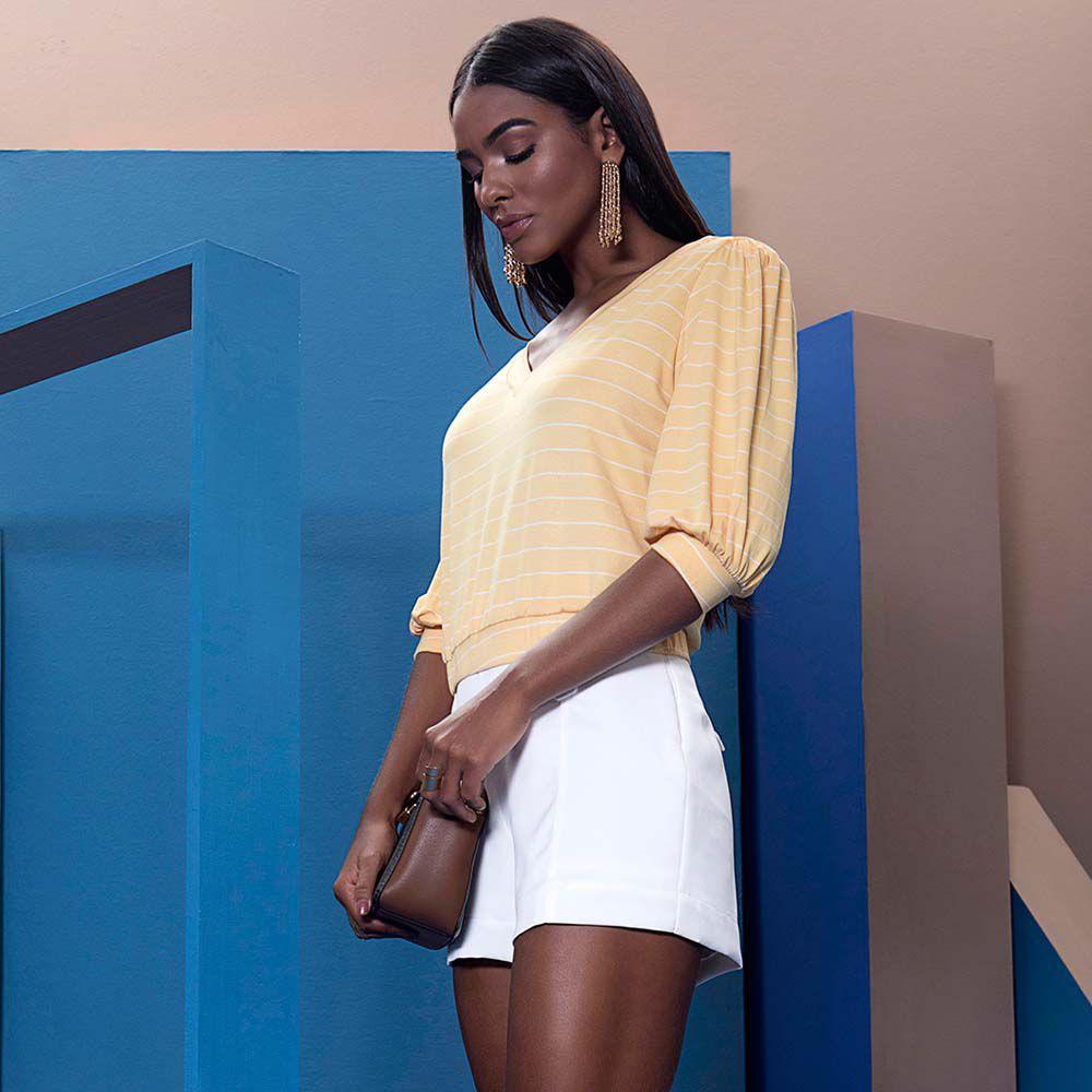 Blusa Cropped Listra Amarelo