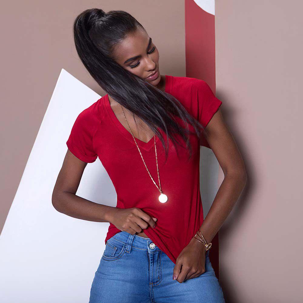 Blusa de Malha Básica Vermelha