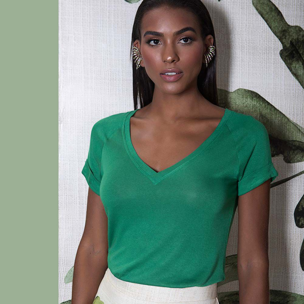 Blusa de Malha Básica Verde