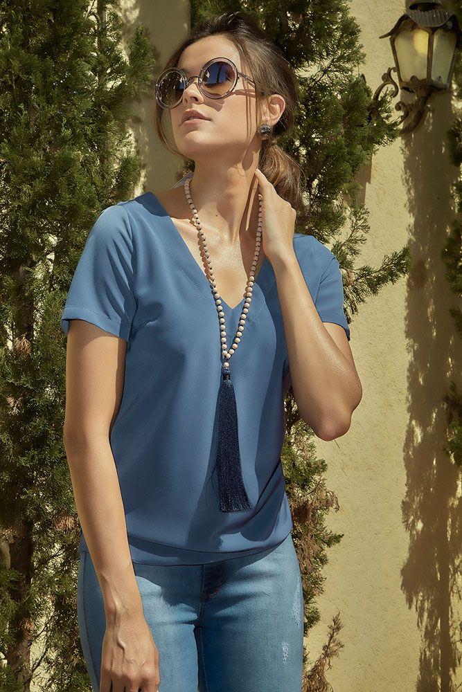 Blusa Decote V Azul