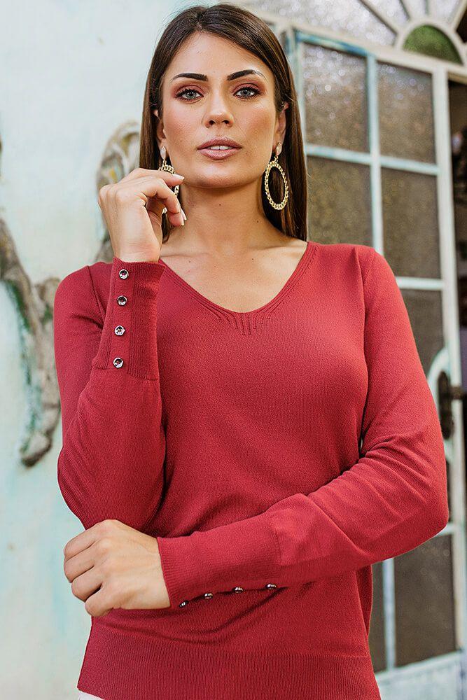 Blusa Decote V Vermelha