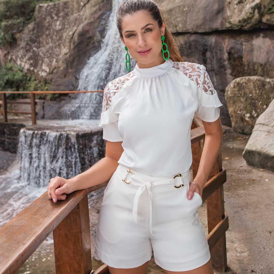 Blusa Recorte com Renda no Ombro Off-white