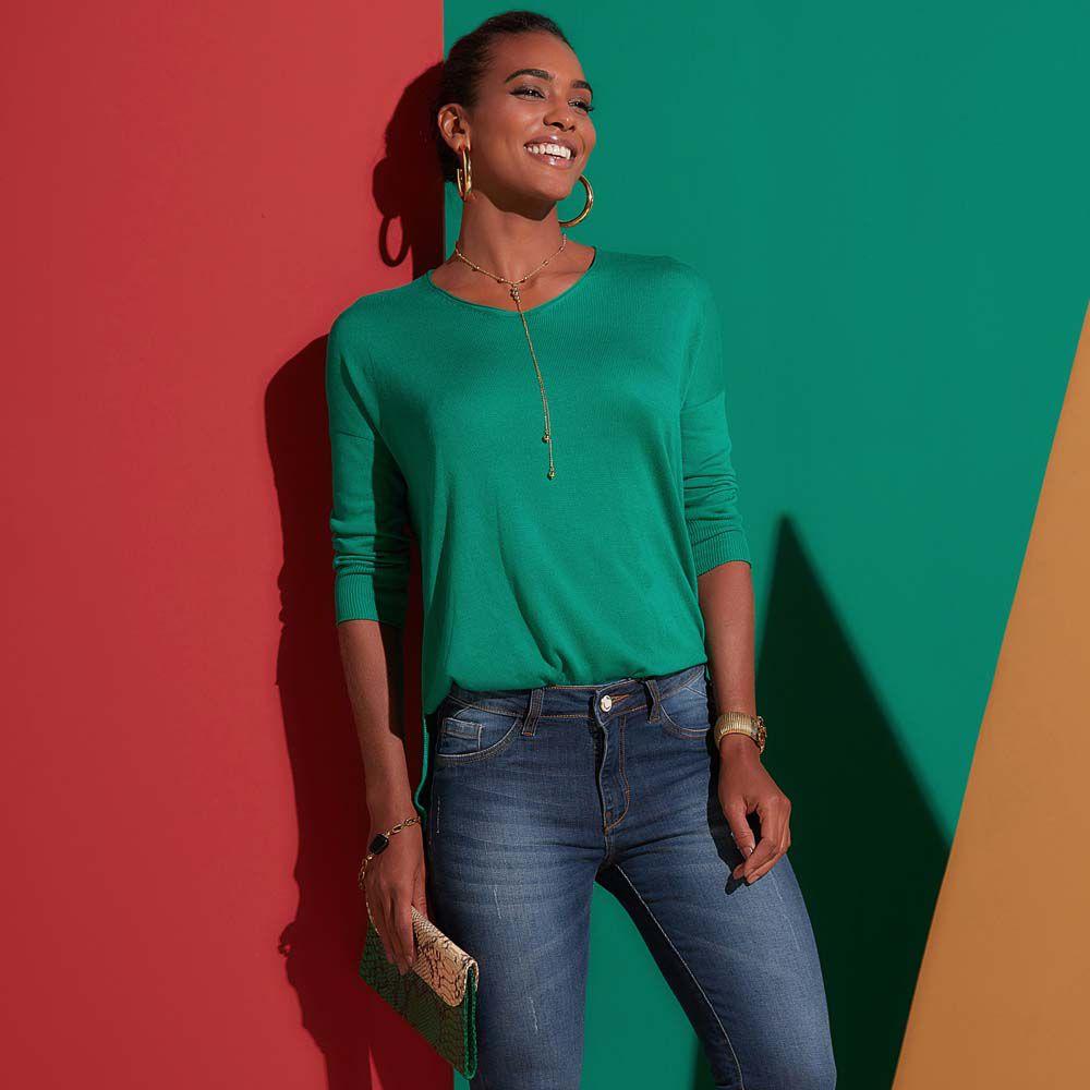 Blusa Tricot com Decote Redondo Verde