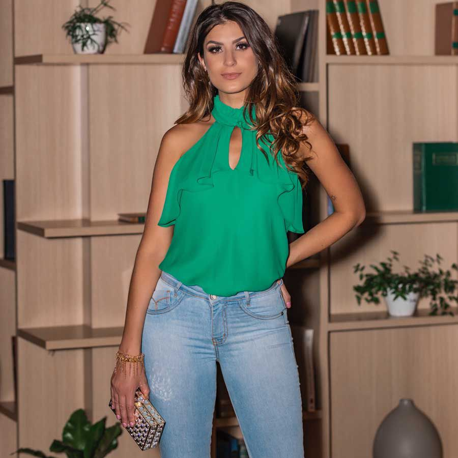 Calça Flare Jeans Lavagem Clara