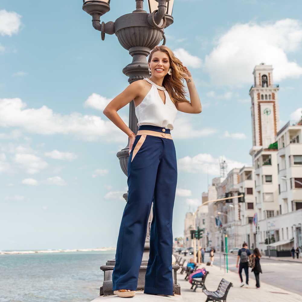 Calça Pantalona Detalhes Bicolor
