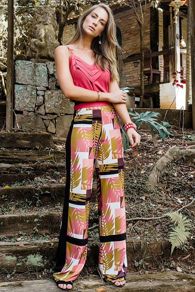 Calça Pantalona Multicolorida