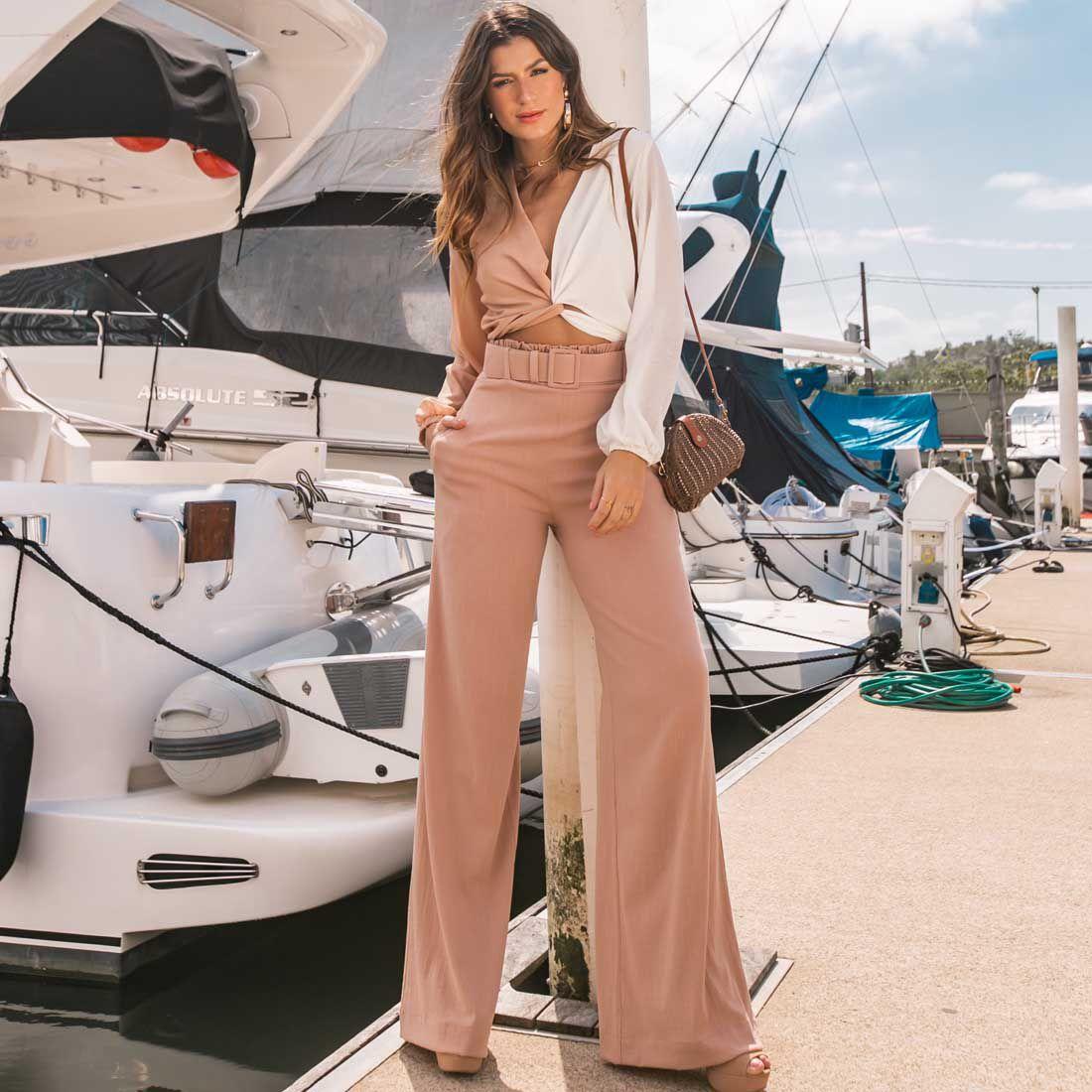 Calça Pantalona Rosada
