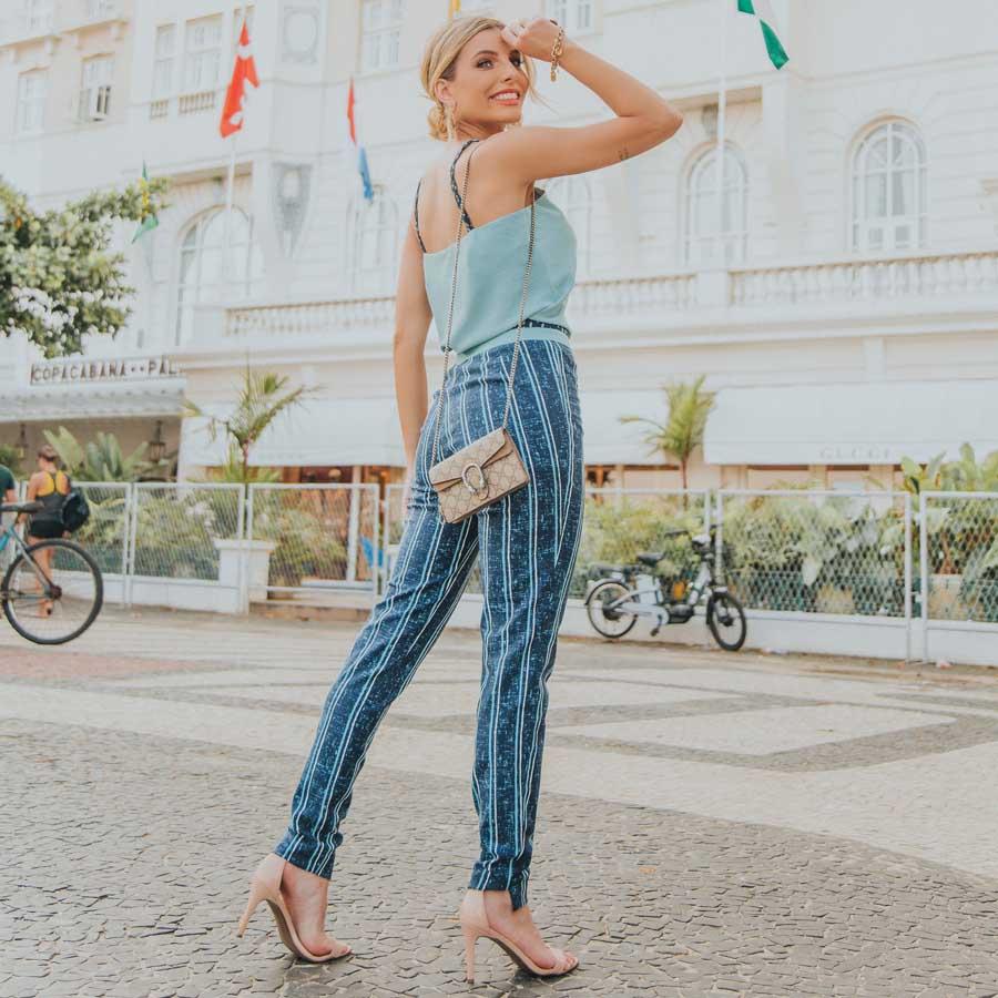 Calça Skinny Listras Azul