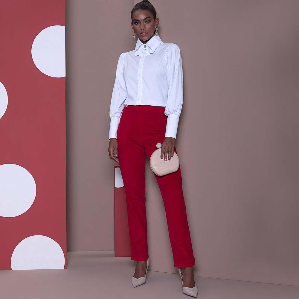 Calça Vermelha Veludo