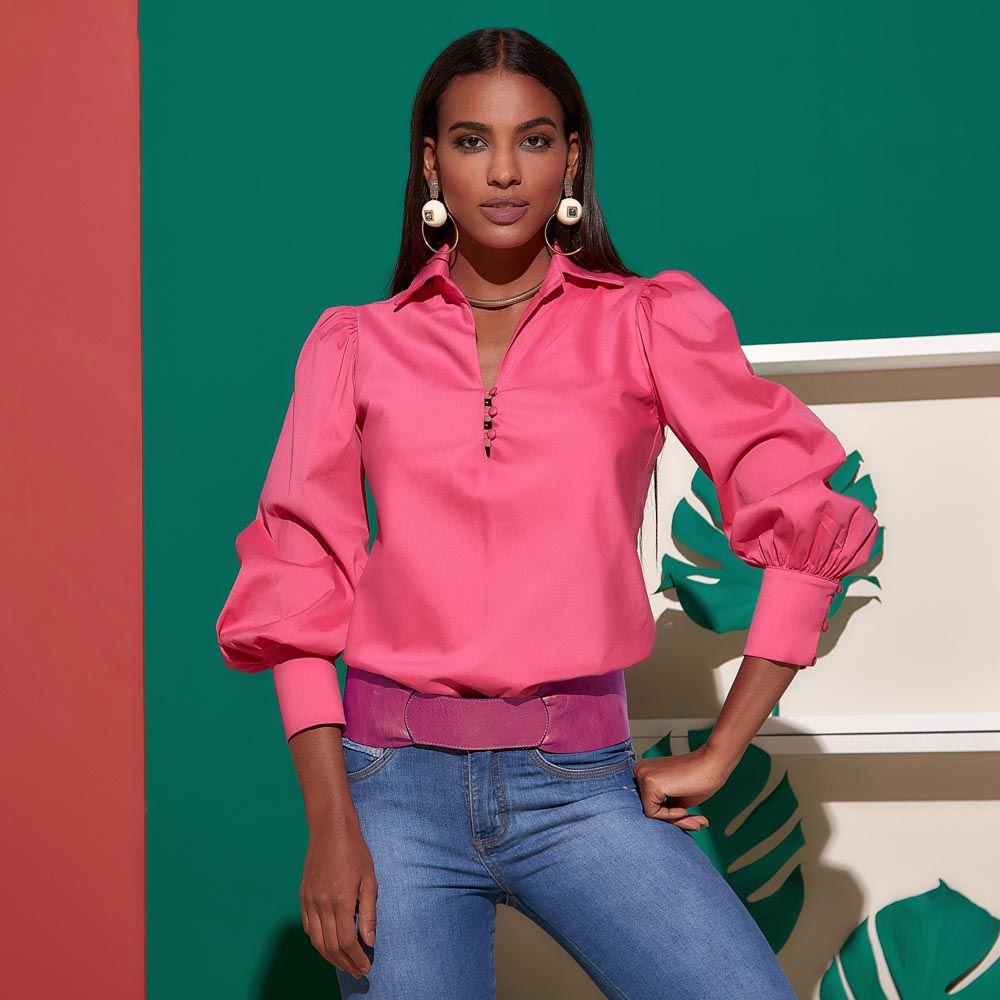 Camisa com Gola Tradicional e Abotoamento Frente Rosa