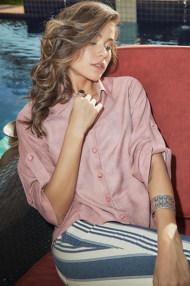 Camisa com Martingale Rosa