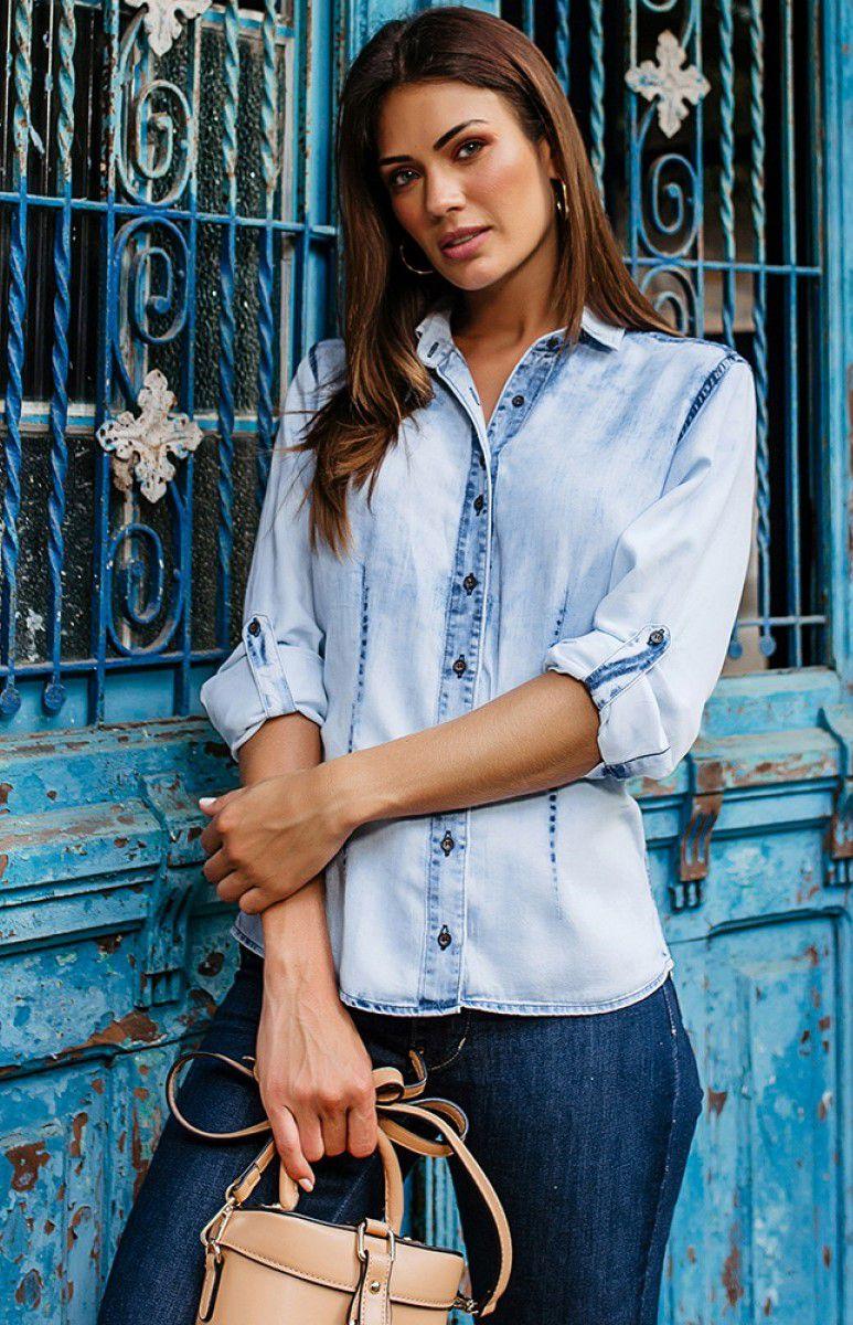 Camisa Jeans Lavagem Clara