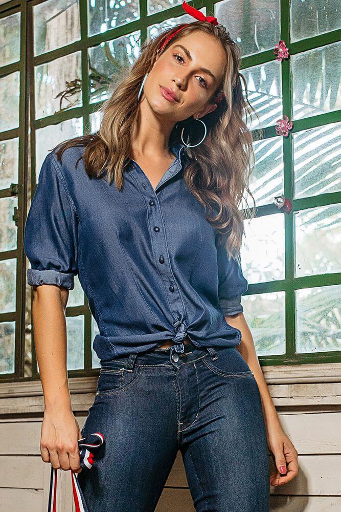 Camisa Jeans Lavagem Escura