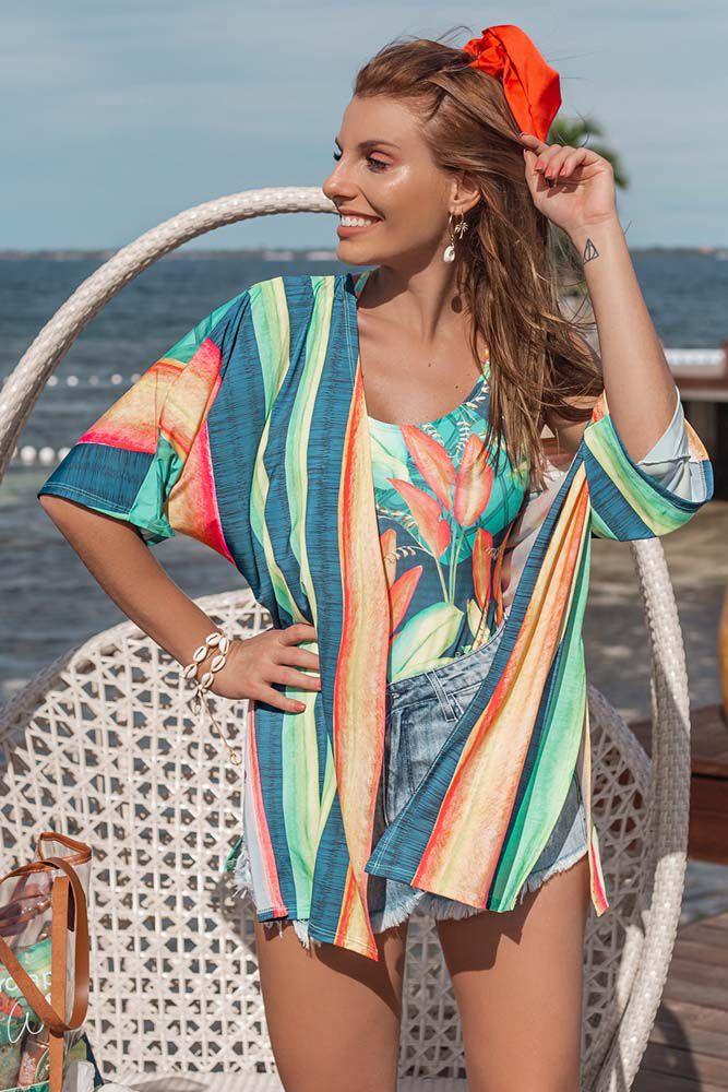 Saída de Praia Kimono Multicolorido