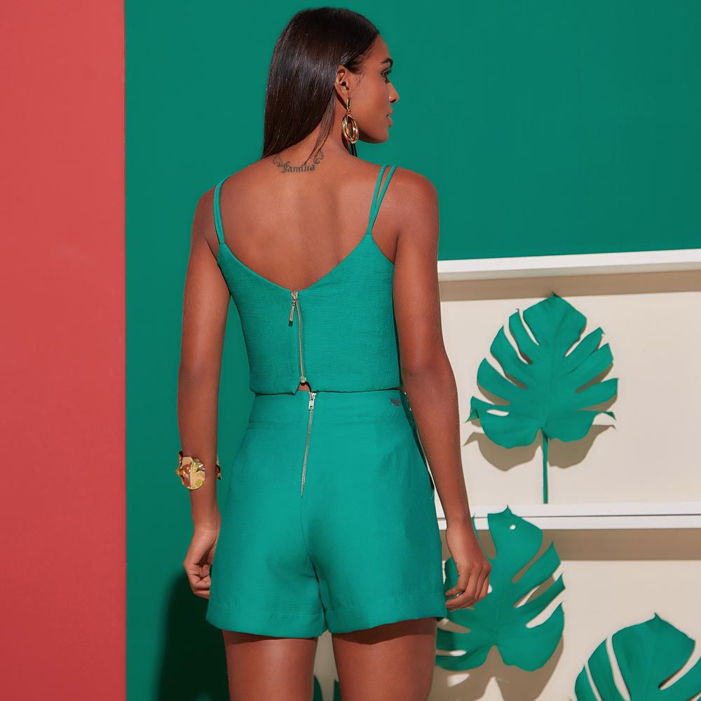 Top Decote V com Argola Acrílico Verde