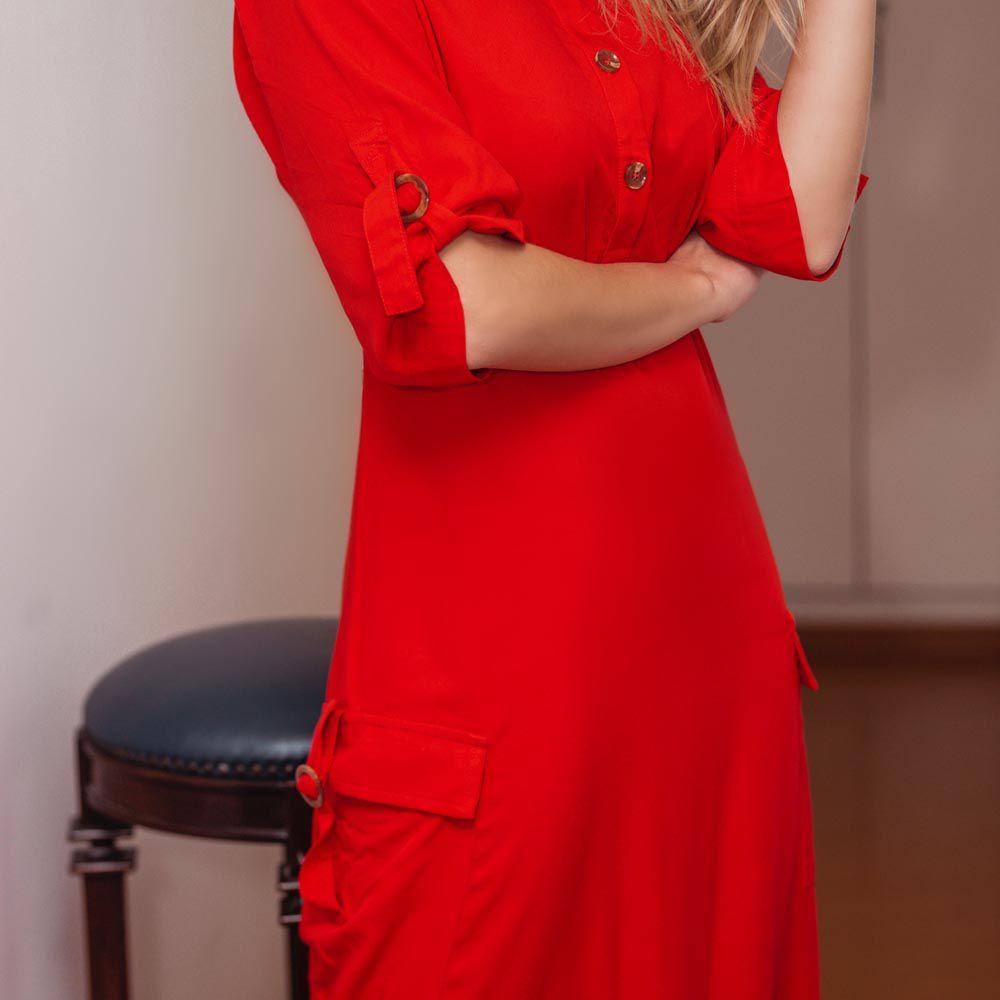 Vestido Chemise com Fendas Laterais Laranjado
