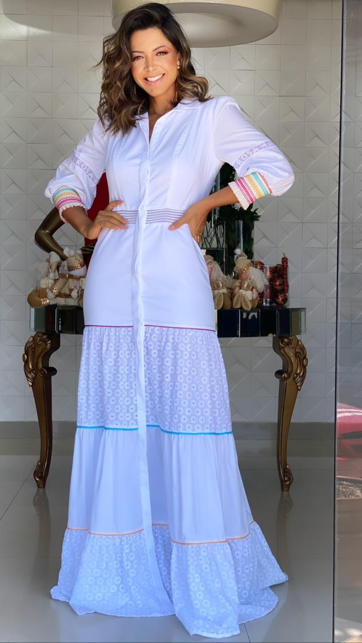 Vestido Chemise Tricoline e Laise