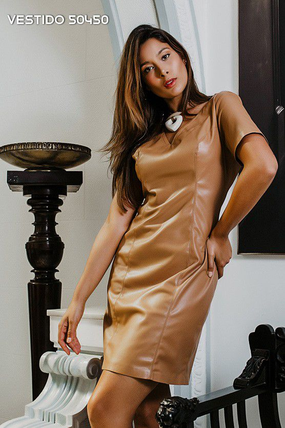 Vestido de Couro Caramelo