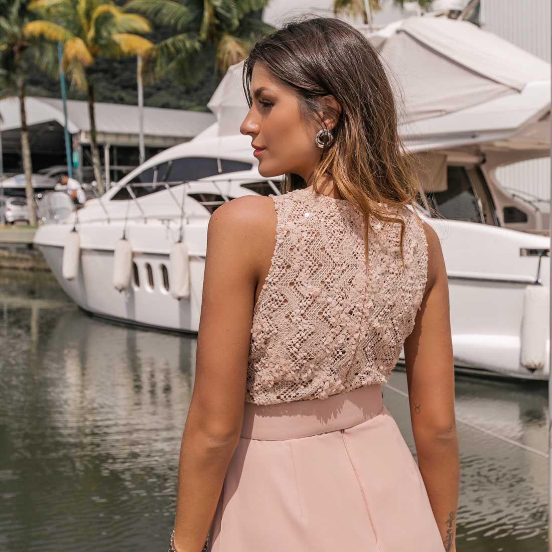 Vestido Decote em V Rosa