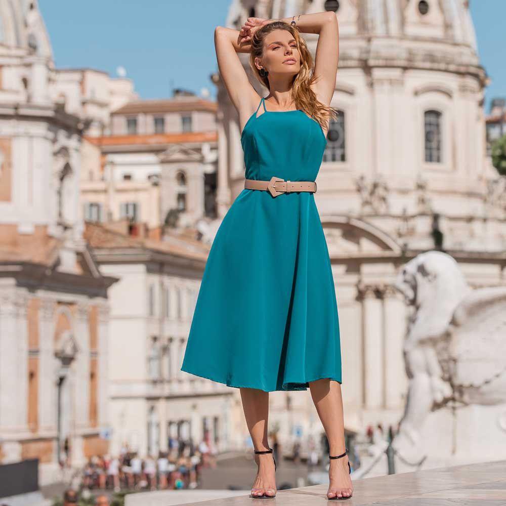 Vestido Decote Reto Verde Azulado