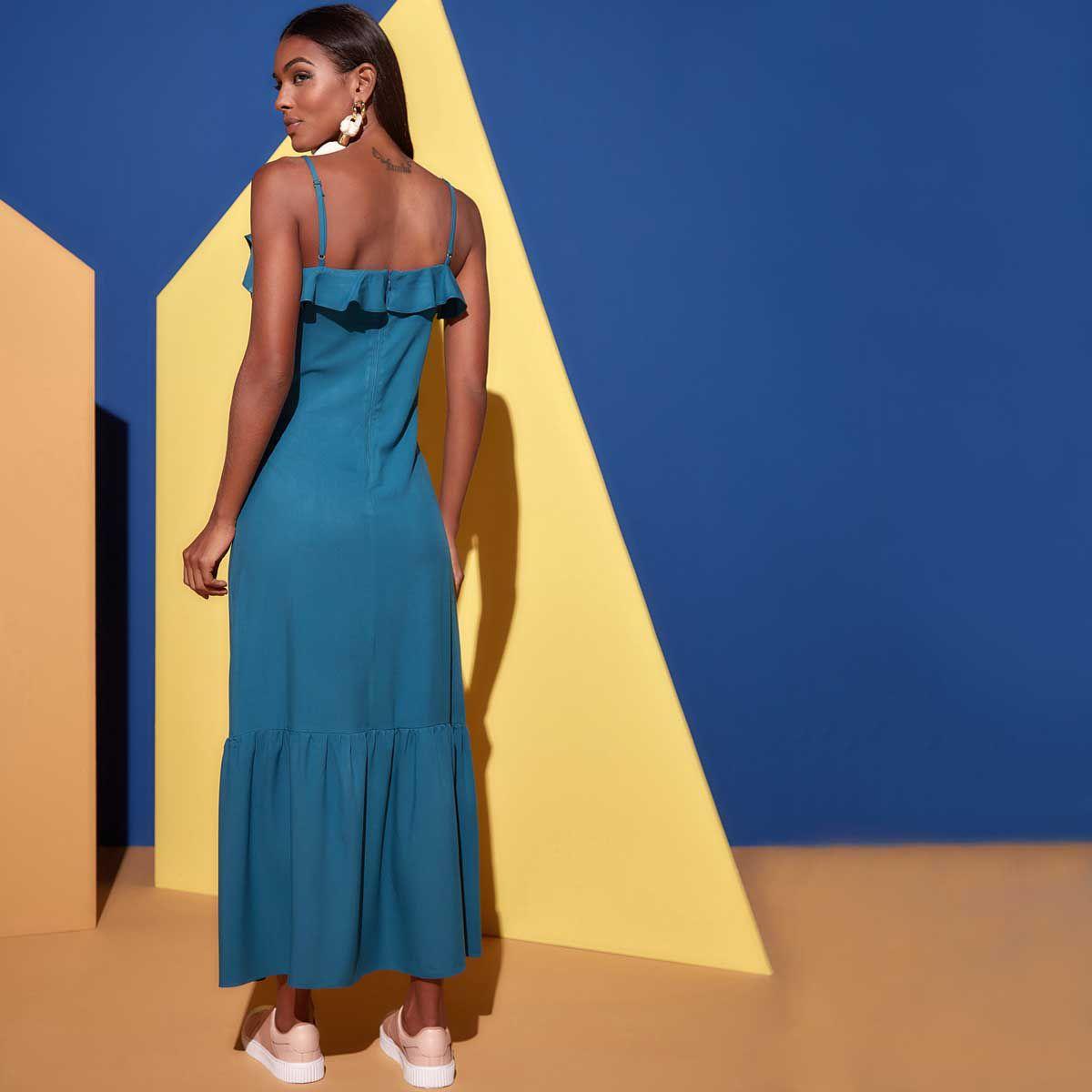 Vestido Decote V com Jabour Azul