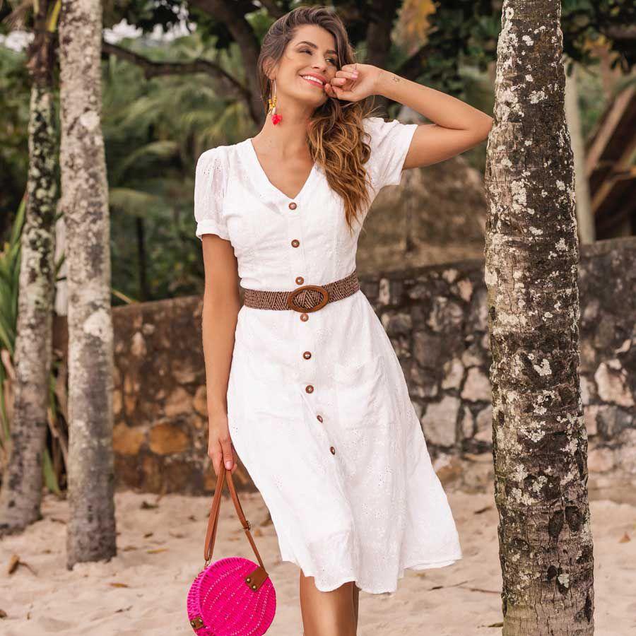 Vestido Midi Laise Off-white