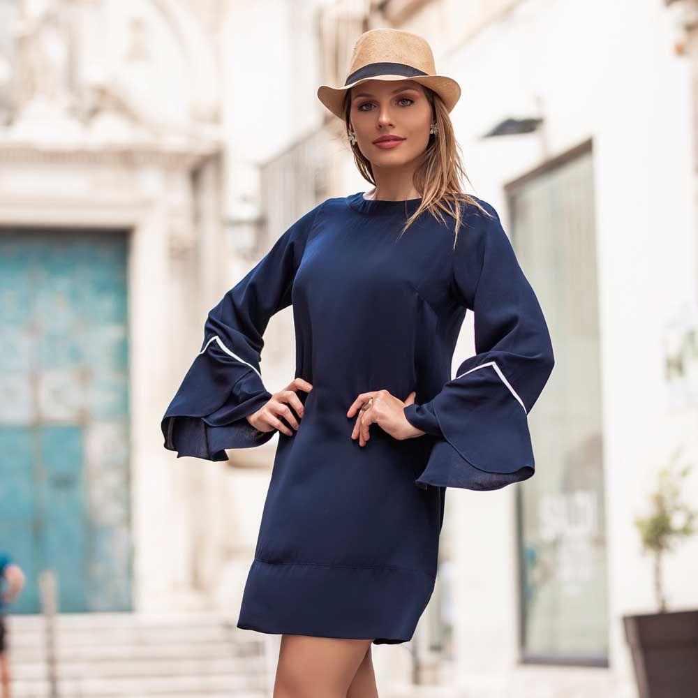 Vestido Decote V Costas Azul