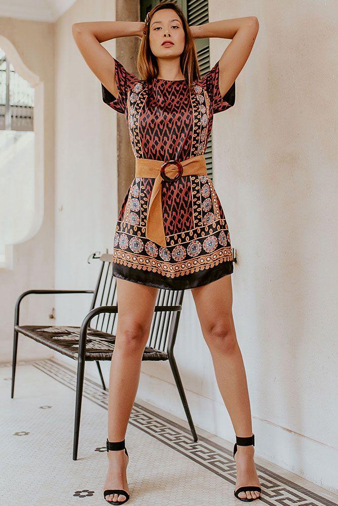 Vestido Estampa Sublimada Étnica