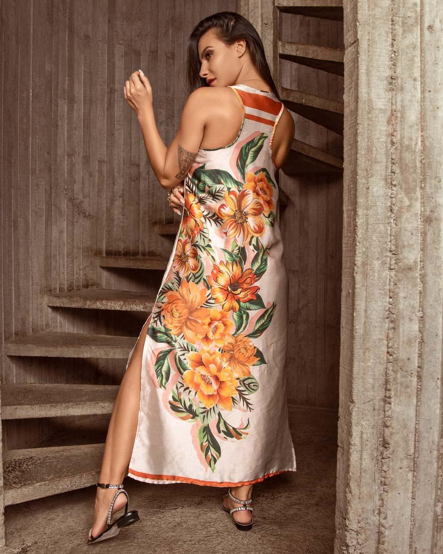 Vestido Floral Acetinado