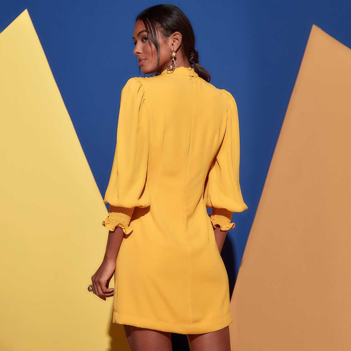 Vestido Gola Alta Lastex Amarelo