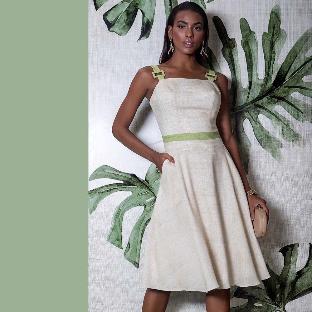 Vestido Linho Bicolor