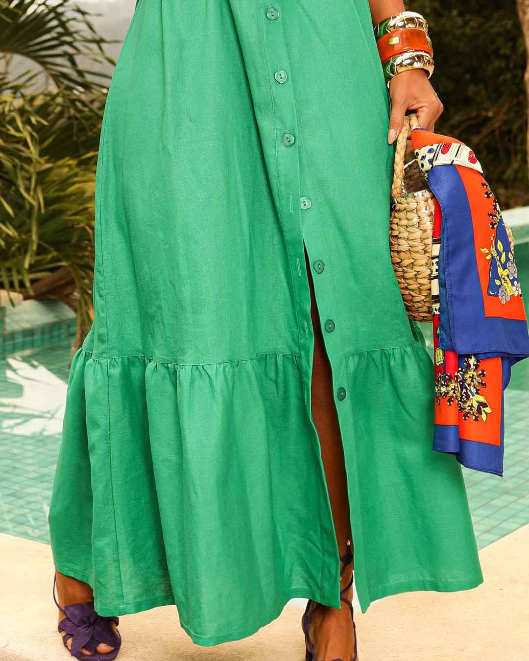 Vestido Linho Verde