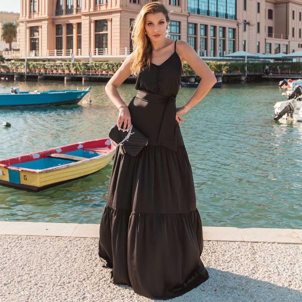 Vestido Longo Camadas Preto