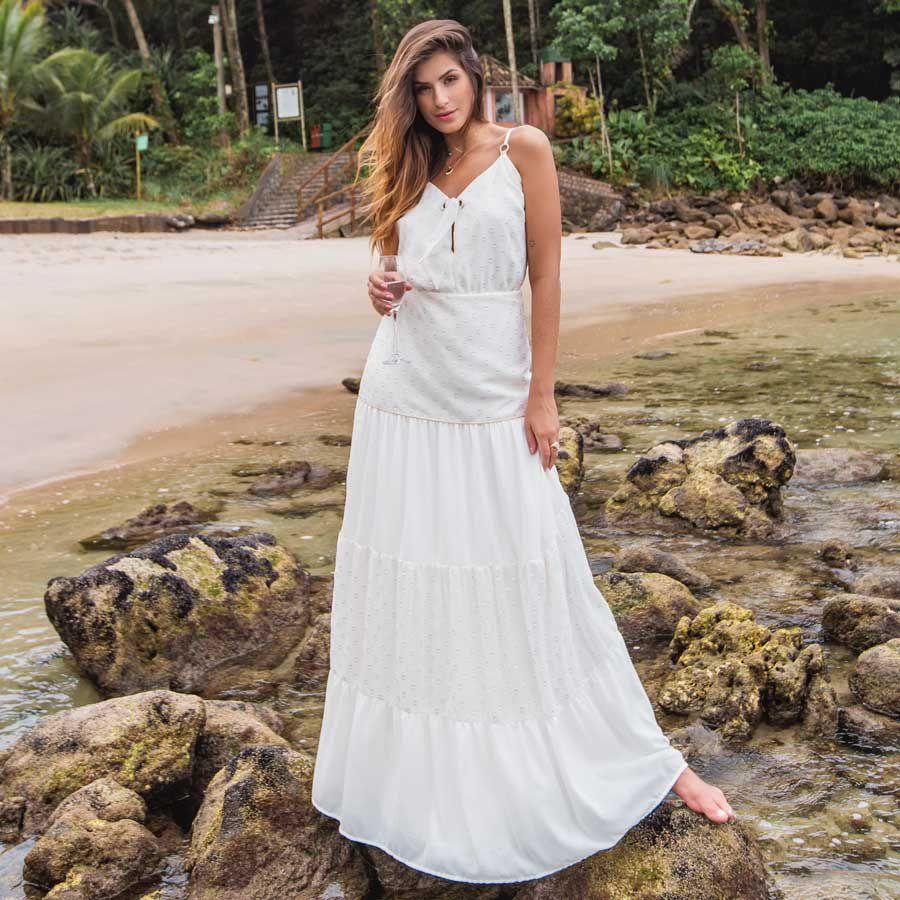 Vestido Longo Decote V Amarração Off-white