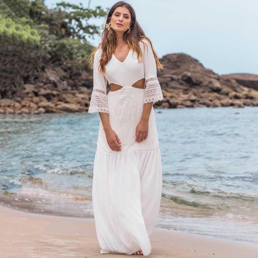Vestido Longo Recortes Vazados Off-white