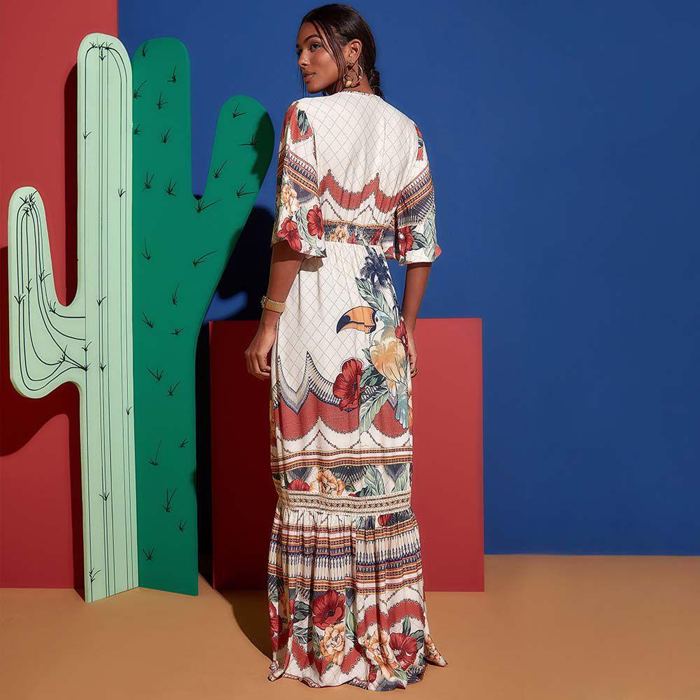 Vestido Longo Tucano Floral Multicolorido
